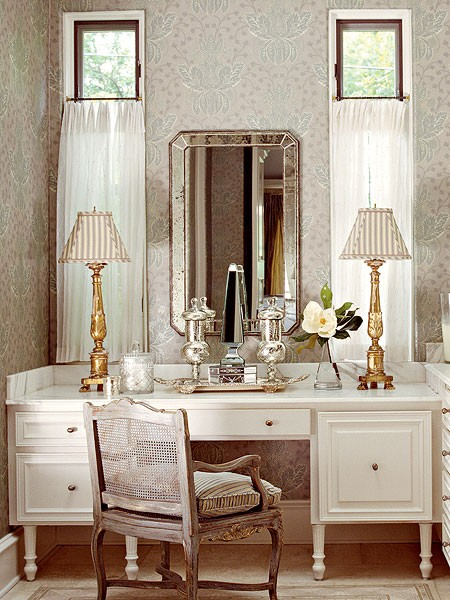 Gilded silverized taffeta toile or twill for Silver vanity table